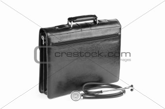 Case and stethoscope isolated on the white