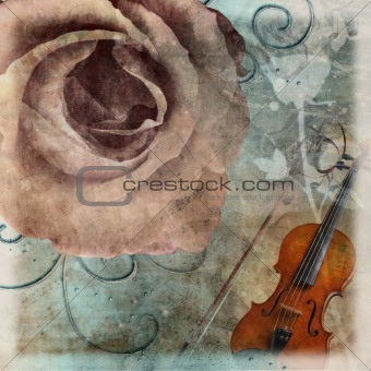 grunge  wedding romantic background with violin and roses