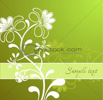 Green Flower Ornament. Vector