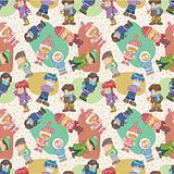 seamless winter people pattern