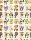 seamless animal play music pattern
