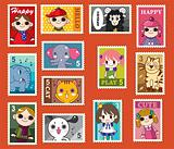 cute cartoon stamps