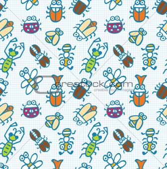seamless cute bug pattern