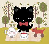 cat tea time