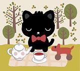 cat tea time