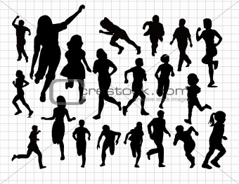 Running black silhouettes