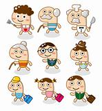 cute cartoon family element
