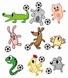 cartoon animals play soccer