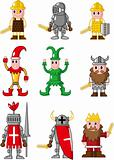 cartoon medieval people icon