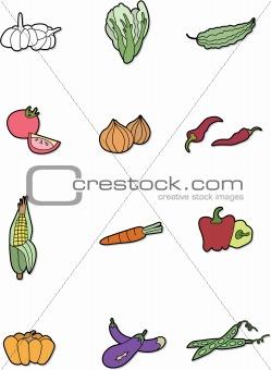 cartoon vegetables