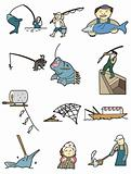 cartoon fishing icon