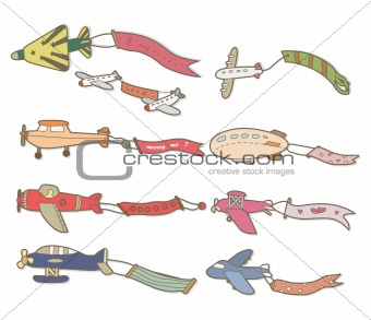 cartoon airplane banner