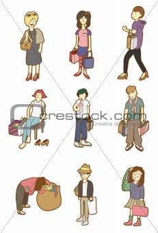 cartoon woman shopping