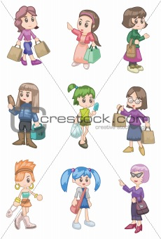 cartoon shopping girl