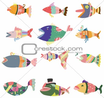cartoon pattern fish icon