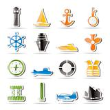 Simple Marine, Sailing and Sea Icons