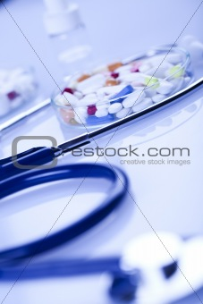 Tablets & Medicines and Stethoscope