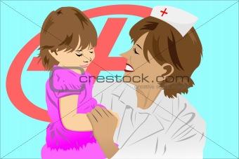 A nurse and child