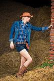 attractive cowboy girl in village
