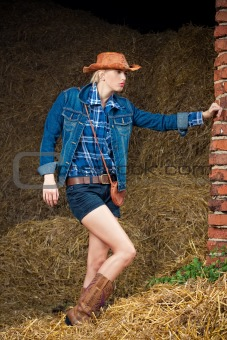attractive cowboy girl in village