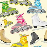 seamless pattern isolated roller and ice skates