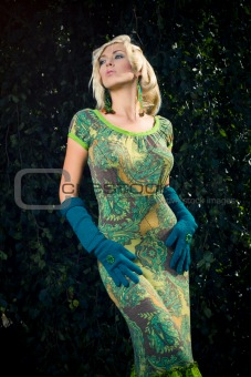 attractive fashion blond girl in park