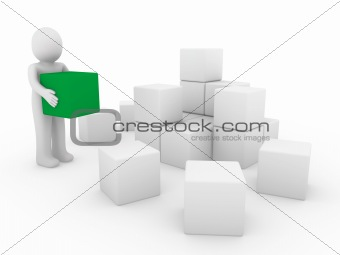 3d human cube box green white