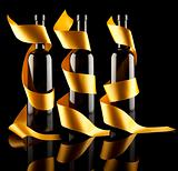 Gold ribbons aroun bottles