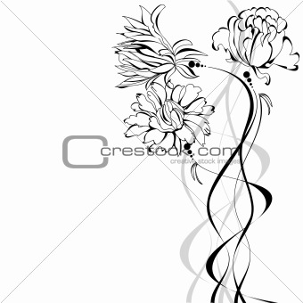 Sketch with flowers