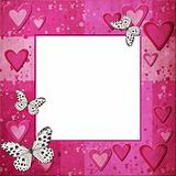 Pink  grange frame with hearts for design