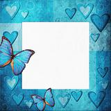 Blue  grange frame with hearts for design