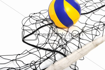 Volleyball ball and volleyball net