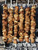 Prepared shish kebab at the campfire