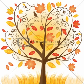 Beautiful autumn tree with fall Leafs