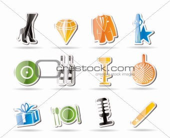 Simple Luxury party and reception icons