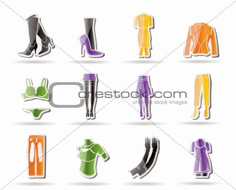 woman and female clothes Simple icons