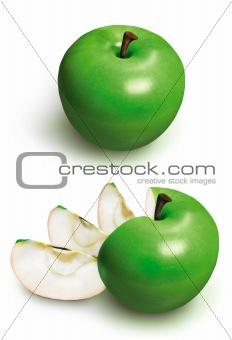 Sliced green 3D apple