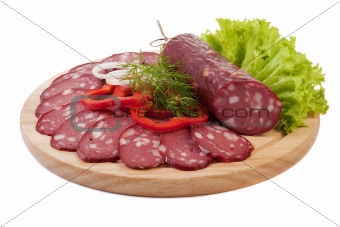 Sliced sausage with vegetables
