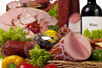 A composition of meat and vegetables