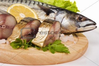 A composition with mackerel fish