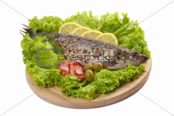 A composition with marinated herring