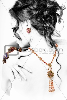 Posing model with jewellery