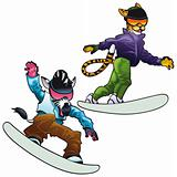 Savannah animals on snowboard.