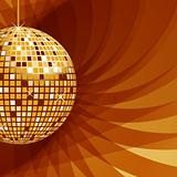 Disco ball gold on abstract background