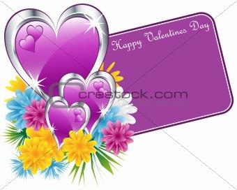 Valentine purple hearts and flowers
