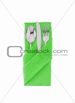 fork ,knife and spoon on green cloth isolated on white backgroun