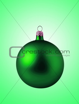 Green christmas ball on green background