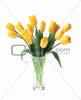 beautiful bouquet of yellow tulips in vase isolated on white bac