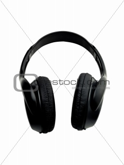 Black earphones isolated on the white background