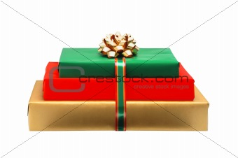 christmas colorful gift box with golden bow isolated on white